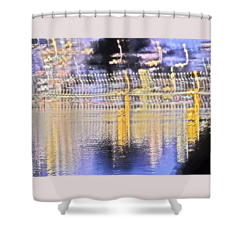 Art Shower Curtain featuring the digital art Raining Light by Ryan Fox