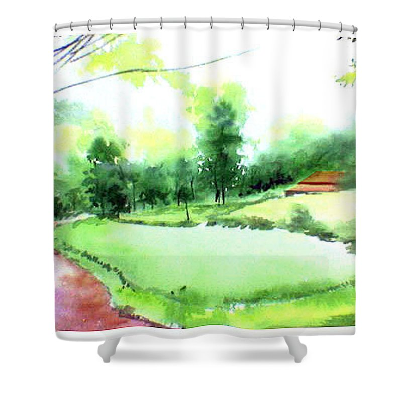 Landscape Shower Curtain featuring the painting Rains In West by Anil Nene