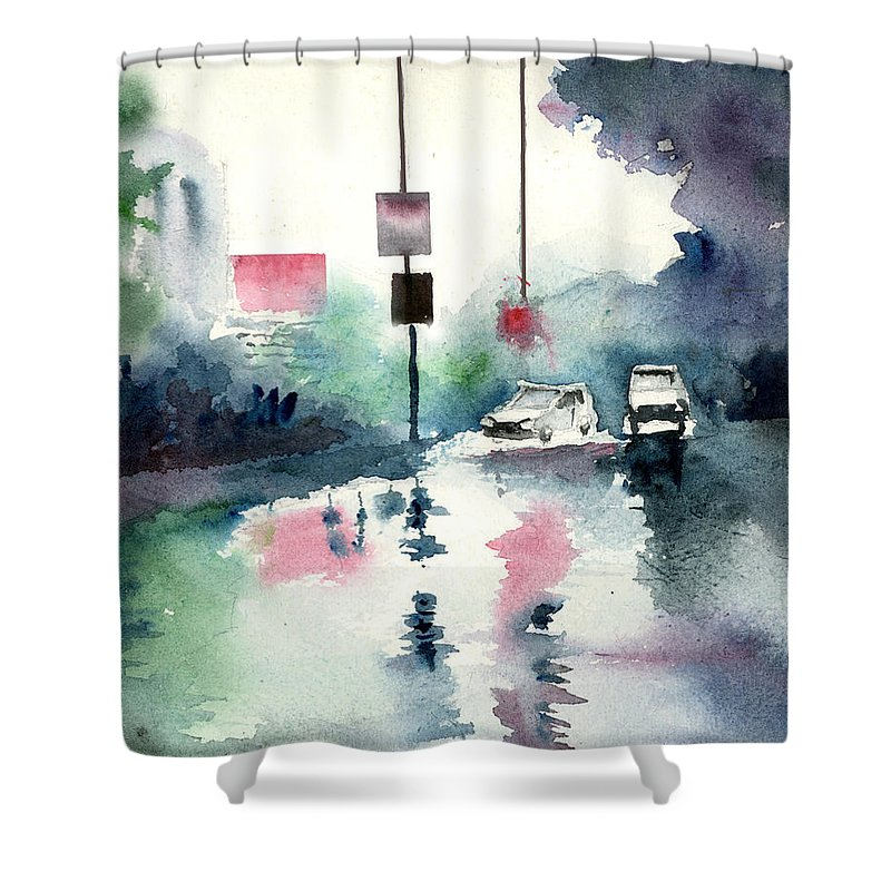 Nature Shower Curtain featuring the painting Rainy Day by Anil Nene