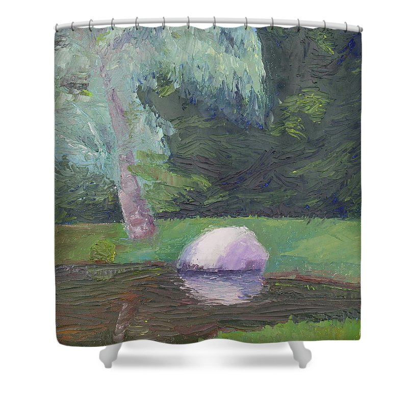 Landscape Painting Shower Curtain featuring the painting Rainy Day by Lea Novak