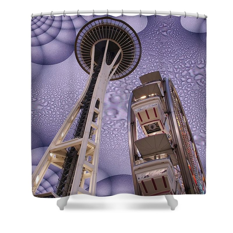 Seattle Shower Curtain featuring the digital art Rainy Needle by Tim Allen