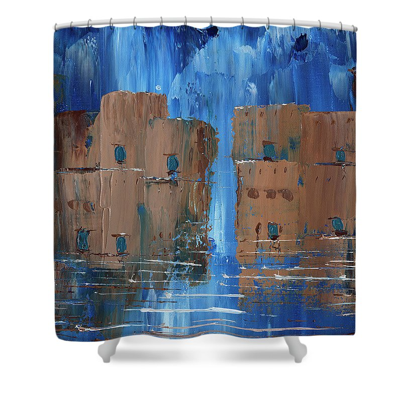 Blue Brown Rain Adobe Shower Curtain featuring the painting Rainy Night At The Pueblo by Koni Webb Bosch