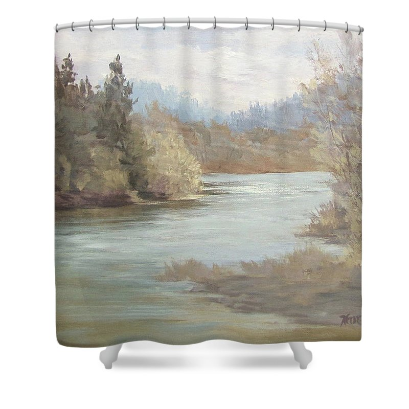 Landscape Shower Curtain featuring the painting Rainy River by Karen Ilari