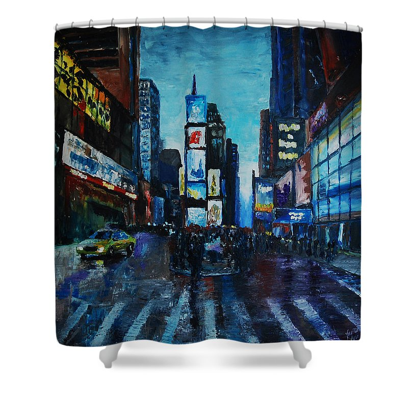 Times Square Shower Curtain featuring the painting Rainy Times by Lauren Luna