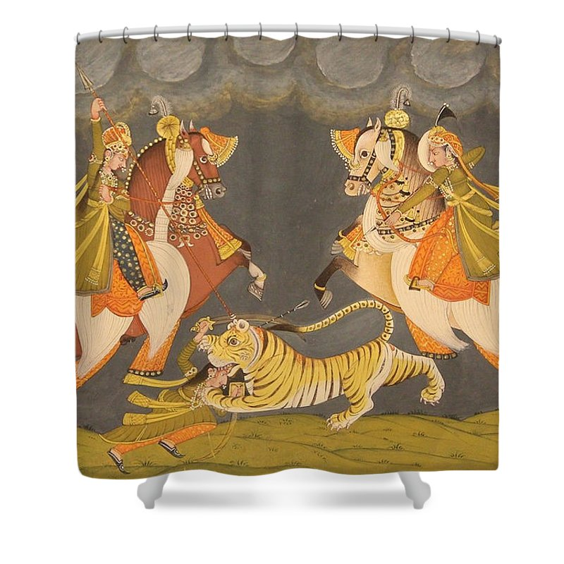 Rajput Queen Hunting Tiger Forest Scene Shower Curtain Featuring The Painting