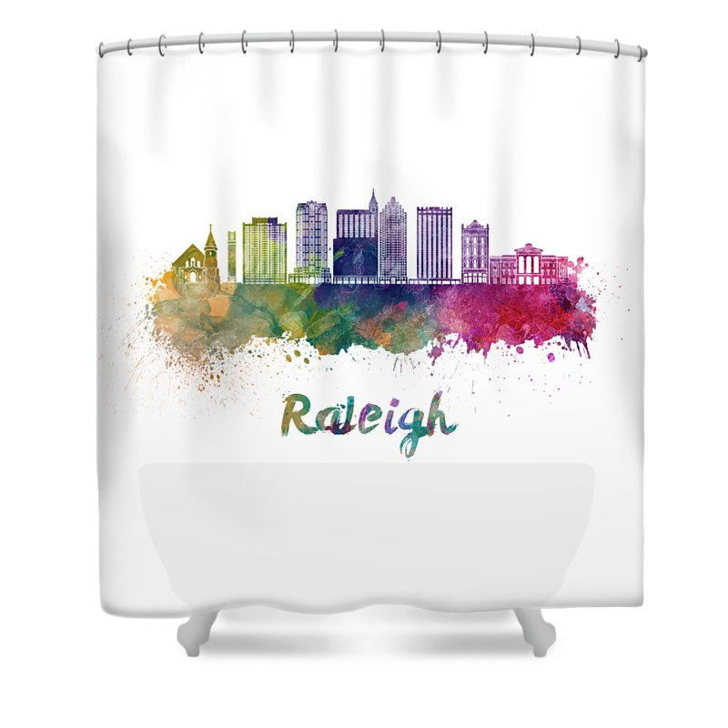 Raleigh Shower Curtain featuring the painting Raleigh V2 Skyline In Watercolor by Pablo Romero