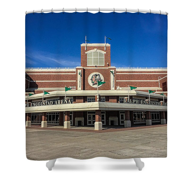 Hockey Shower Curtain Featuring The Photograph Ralph Engelstad Arena By Tom Gort