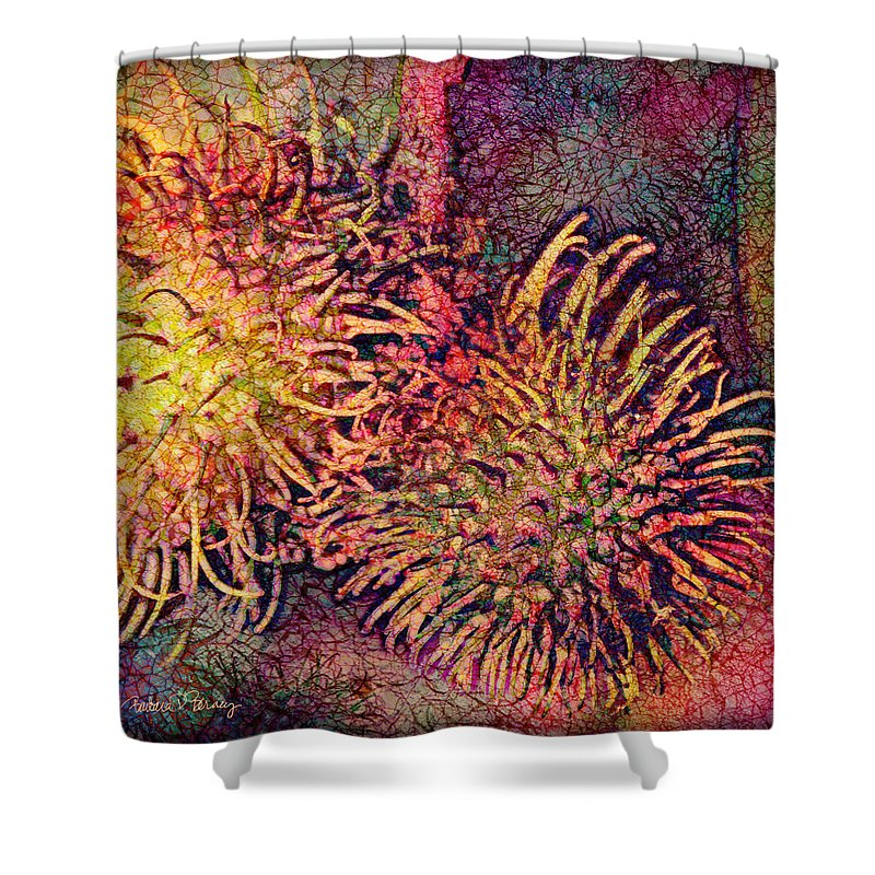 Rambutan Shower Curtain featuring the digital art Rambutan by Barbara Berney