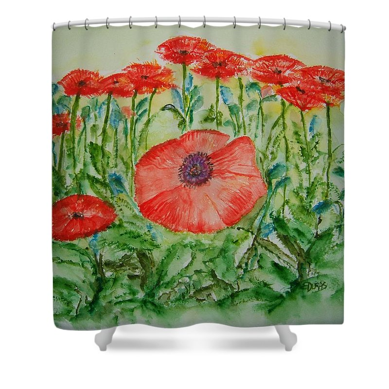 Flower Shower Curtain featuring the painting Ramonas Poppies by Elaine Duras