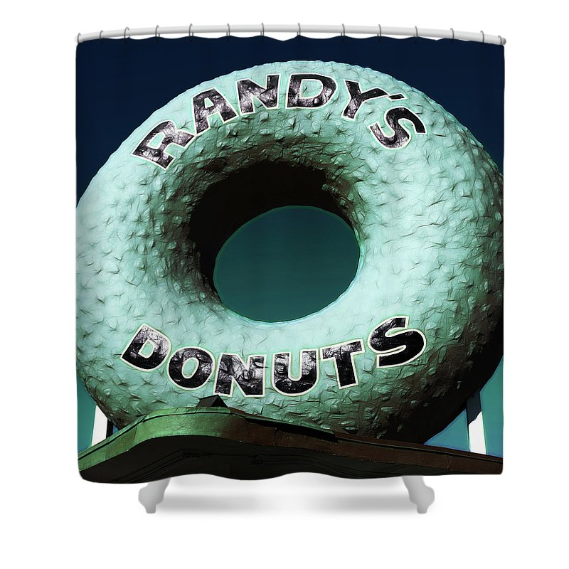 Randy's Donuts Shower Curtain featuring the photograph Randy's Donuts - 12 by Stephen Stookey