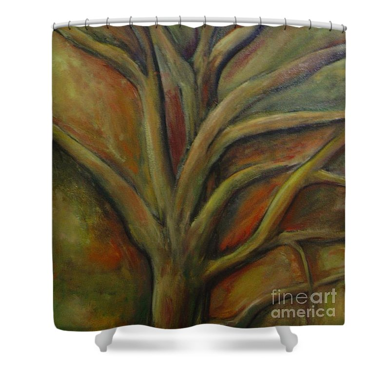 Tree Abstract Painting Expressionist Original Leila Atkinson Shower Curtain featuring the painting Rapt by Leila Atkinson