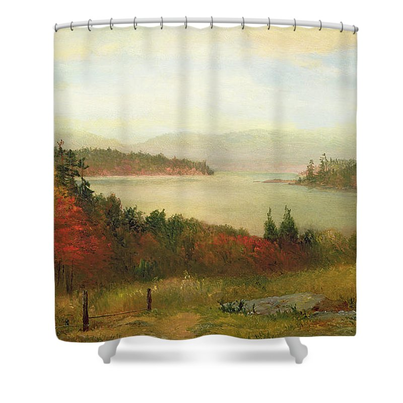 Raquette Lake Shower Curtain featuring the painting Raquette Lake by Homer Dodge Martin