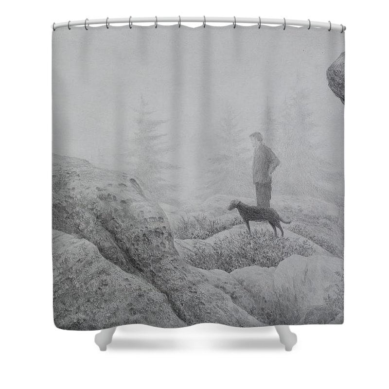 dolly Sods Wilderness Shower Curtain featuring the drawing Rare Fog On Dolly Sods by Steve Mountz
