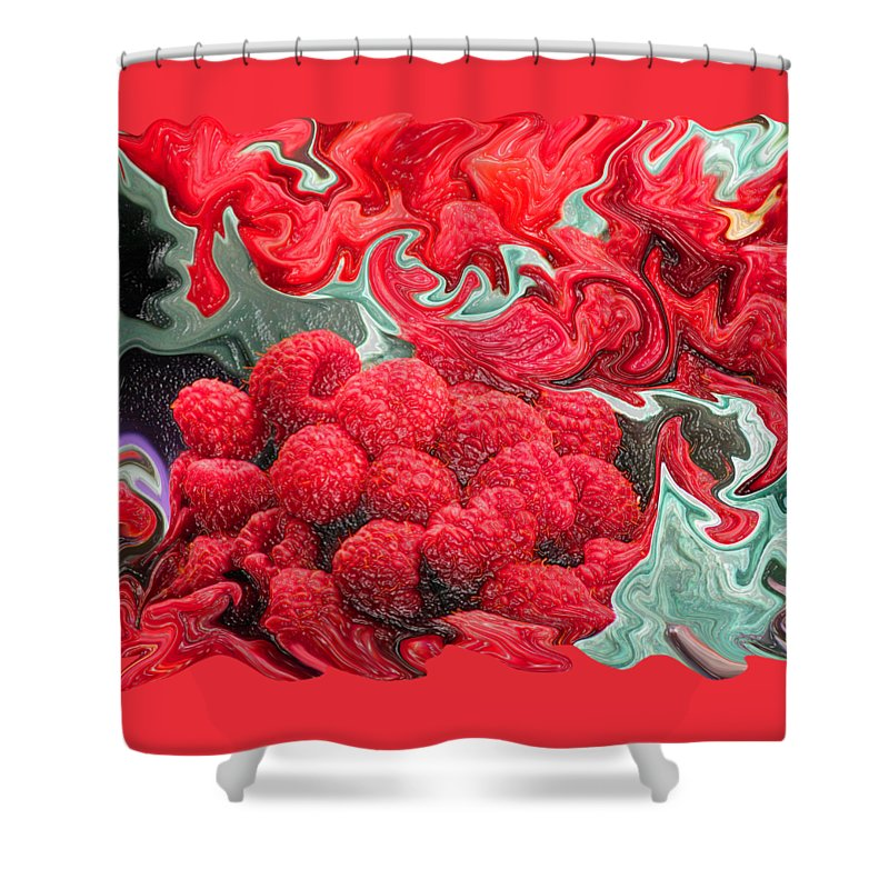 Art Photography Shower Curtain featuring the photograph Raspberries by Kathy Moll