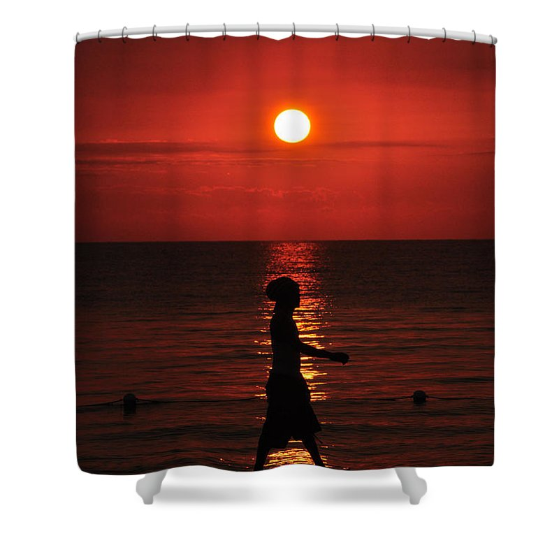 Jamaica Shower Curtain featuring the photograph Rastaman Sunset by David Halperin