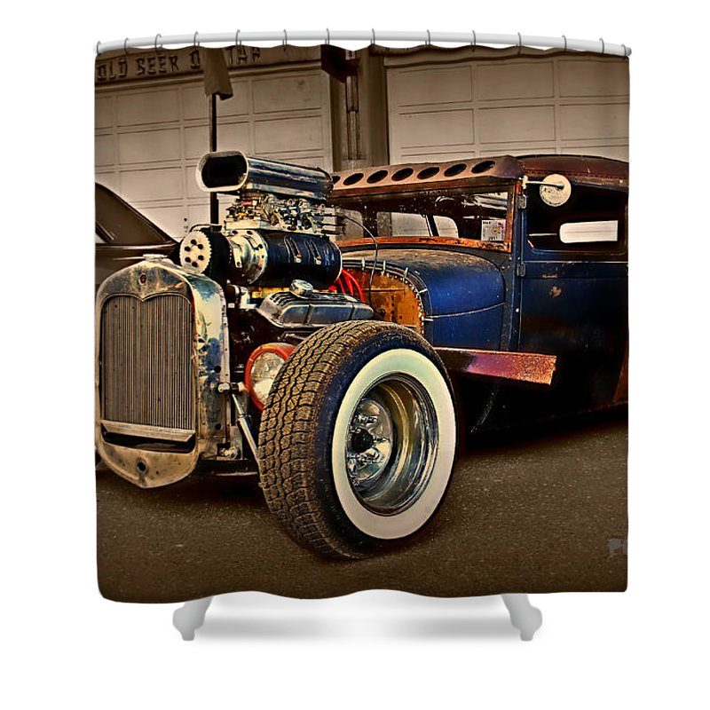 Rat Rod Shower Curtain featuring the photograph Rat Rod Scene 2 by Perry Webster