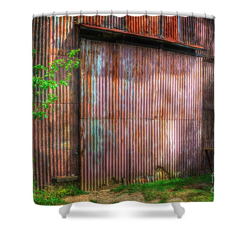 Rats Castle Shower Curtain featuring the digital art Rats Castle Farm Barn Door by Nigel Bangert