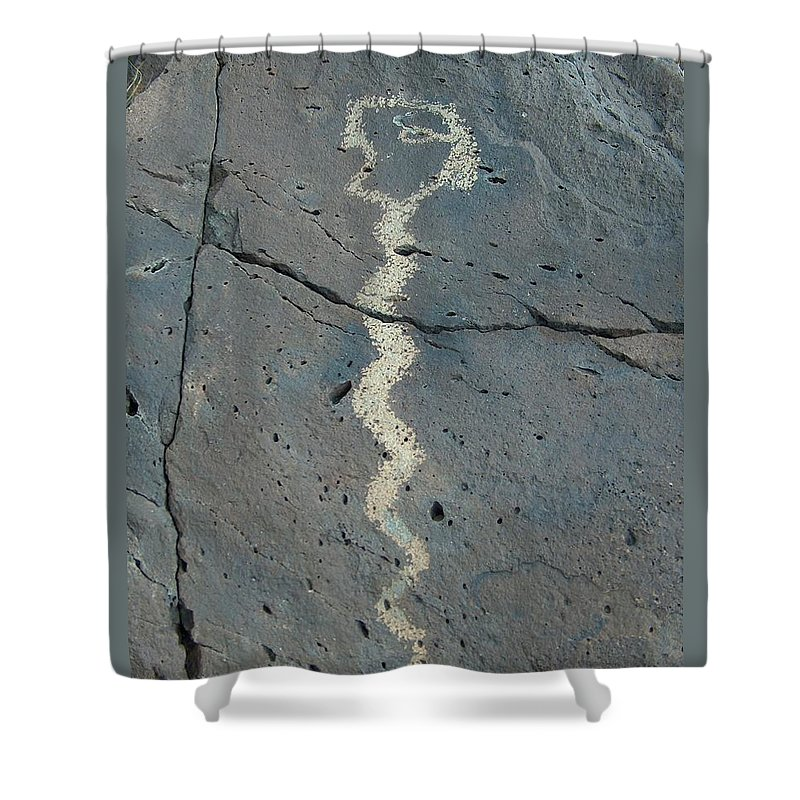 Rattlesnake Shower Curtain featuring the photograph Rattlesnake Petroglyph 2 by Tim McCarthy