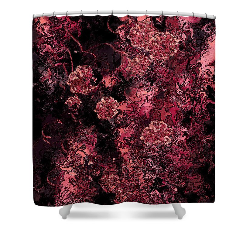 Abstract Shower Curtain featuring the digital art Ravaged Heart by Rachel Christine Nowicki