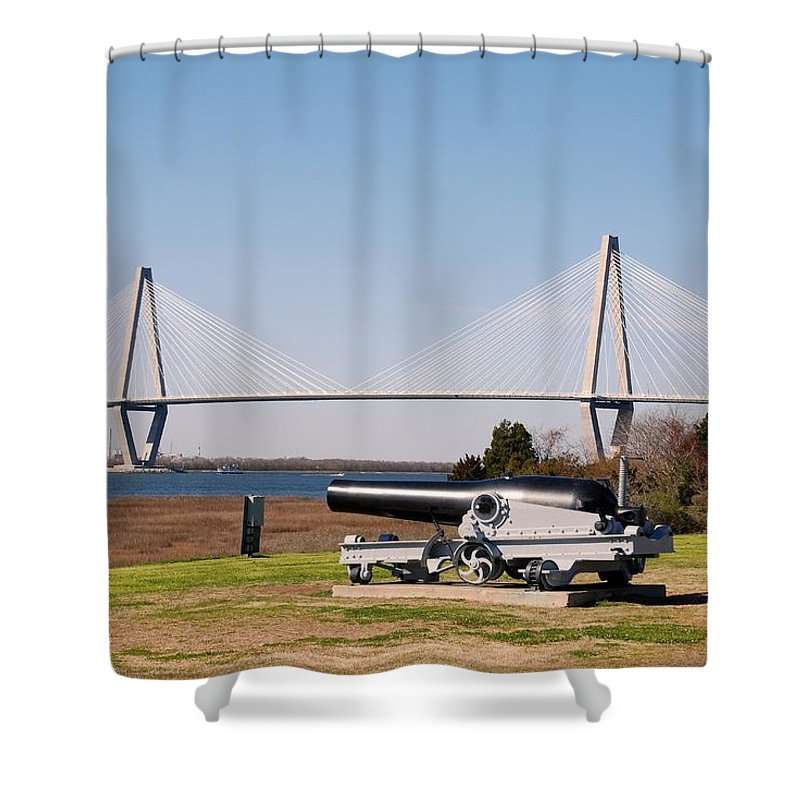 Photography Shower Curtain featuring the photograph Ravanel Bridge From The Patriot Point by Susanne Van Hulst