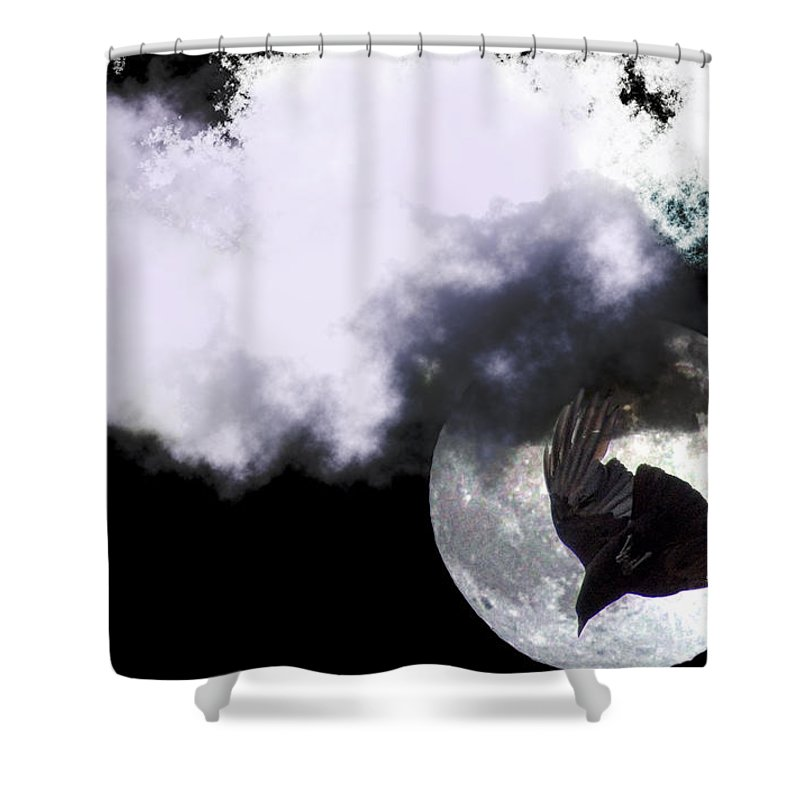 Clay Shower Curtain featuring the photograph Raven Moon by Clayton Bruster