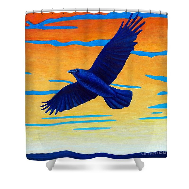 Raven Shower Curtain featuring the painting Raven Rising by Brian Commerford