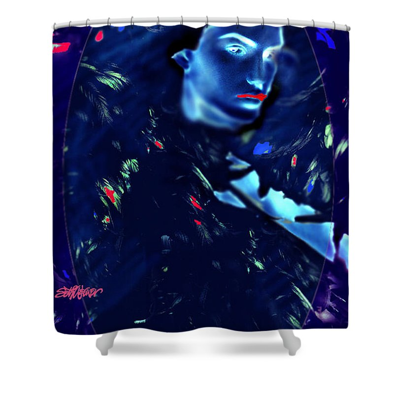 A Bizarre Evil Witch Flies With The Ravens Shower Curtain featuring the digital art Raven Woman by Seth Weaver