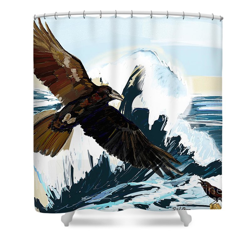 Ravens Shower Curtain featuring the painting Ravens And The Stormy Sea by Lidija Ivanek - SiLa