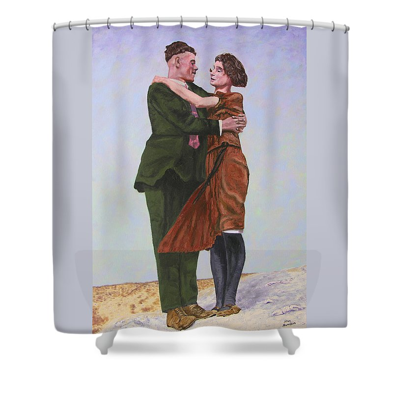 Double Portrait Shower Curtain featuring the painting Ray And Isabel by Stan Hamilton