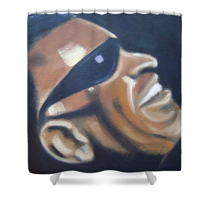 Ray Charles Shower Curtain featuring the painting Ray Charles by Toni Berry