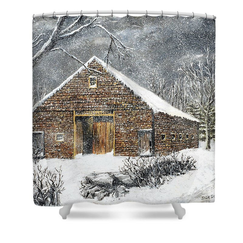 Barns Shower Curtain featuring the painting Ray Emerson's Old Barn by Jack Skinner