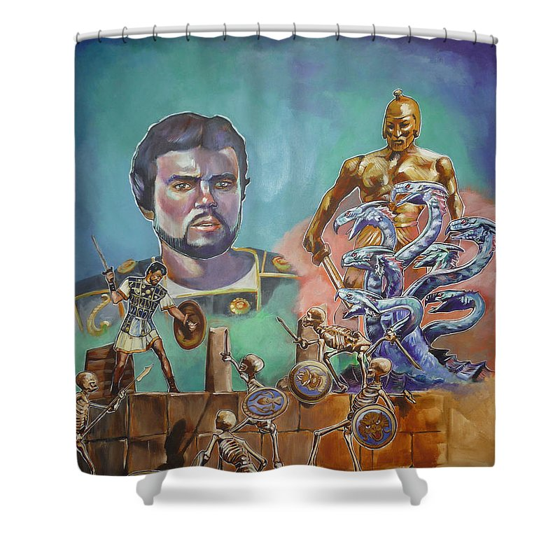 Jason Argonauts Hydra Talos Skeletons Movie Harryhausen Fantasy Sci-fi Shower Curtain featuring the painting Ray Harryhausen Tribute Jason And The Argonauts by Bryan Bustard