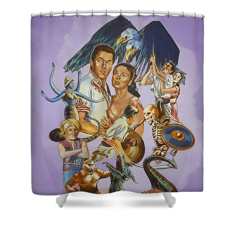 Movie Shower Curtain featuring the painting Ray Harryhausen Tribute Seventh Voyage Of Sinbad by Bryan Bustard