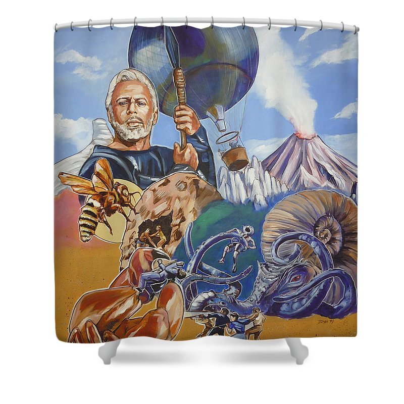 Mysterious Island Shower Curtain featuring the painting Ray Harryhausen Tribute The Mysterious Island by Bryan Bustard