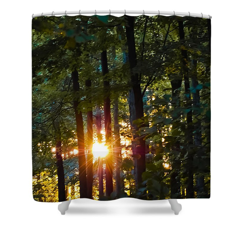Sun Shower Curtain featuring the digital art Rays Of Dawn by DigiArt Diaries by Vicky B Fuller