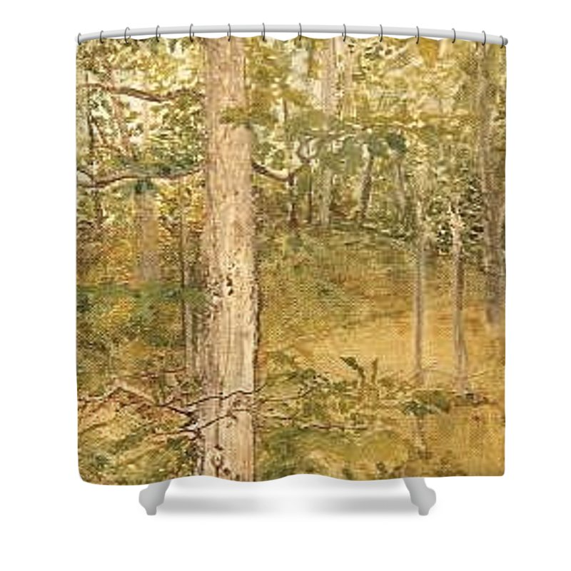 Trees Shower Curtain featuring the painting Raystown Lake by Leah Tomaino