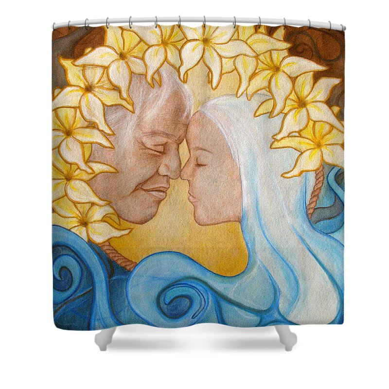 Kimberly Kirk Shower Curtain featuring the painting Reach Into My Heart by Kimberly Kirk