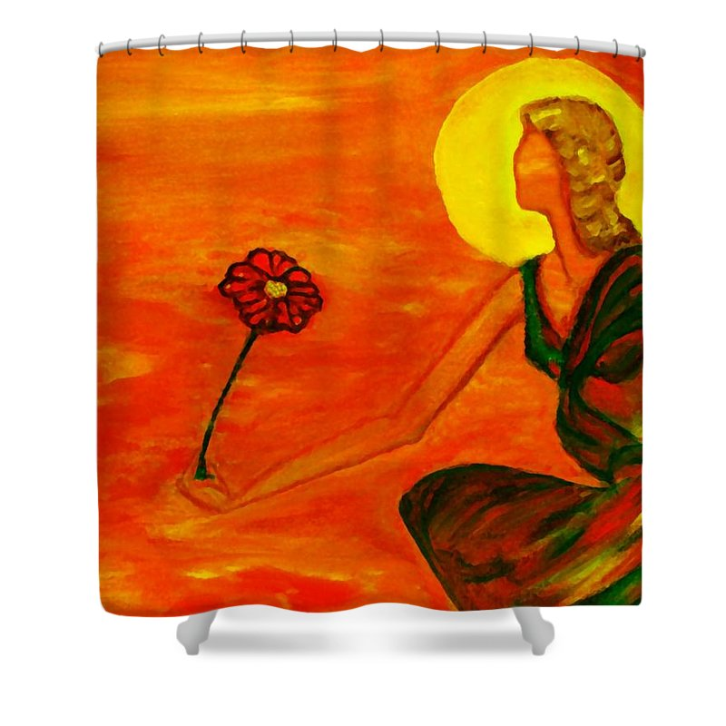 Figure Expressionism Shower Curtain featuring the painting Reach Out by Robin Monroe