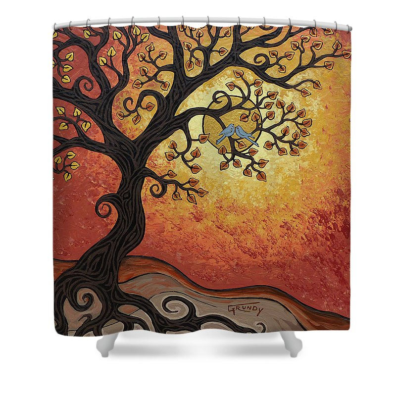 Landscape Painting Shower Curtain featuring the painting Reaching Across The Sky by Stephen Grundy
