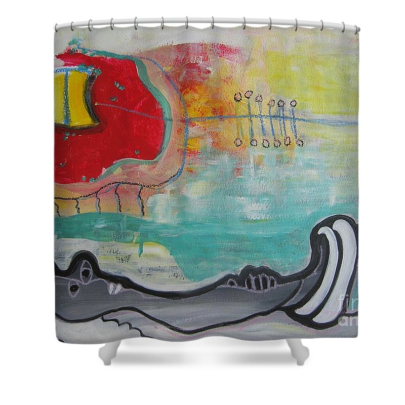 Red Paintings Shower Curtain featuring the painting Read My Mind1 by Seon-Jeong Kim