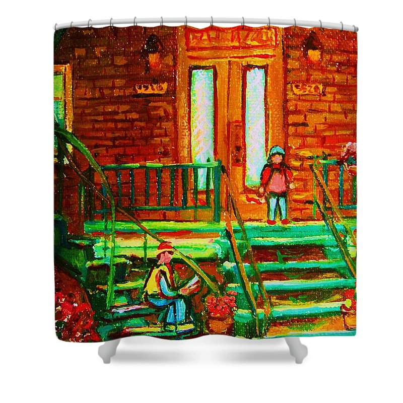 Stairways Shower Curtain featuring the painting Reading On The Steps by Carole Spandau