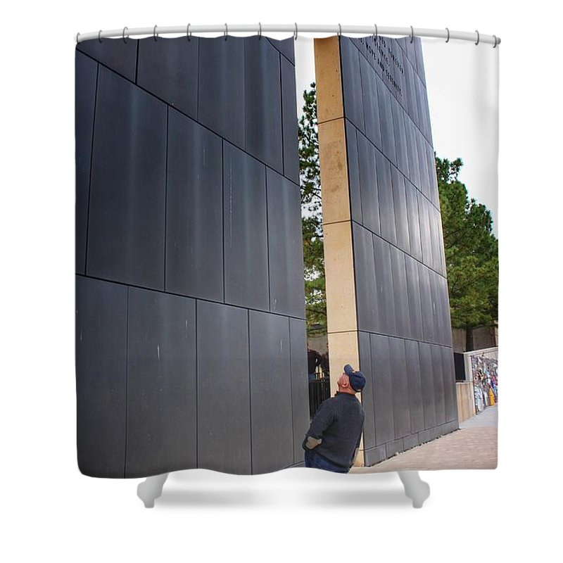 Okc Shower Curtain featuring the photograph Reading The West Wall by Buck Buchanan