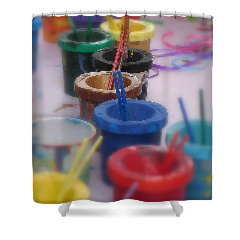 Painting Shower Curtain featuring the photograph Ready  Set  Paint by Shelley Jones