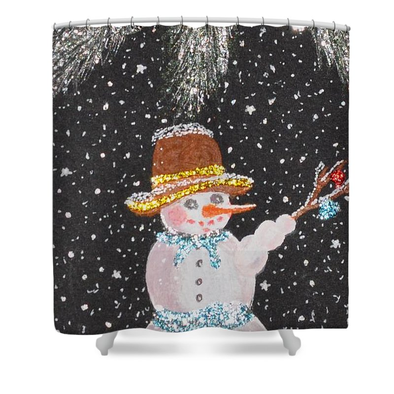 Snowman Shower Curtain featuring the mixed media Ready For Fun by Georgeta Blanaru