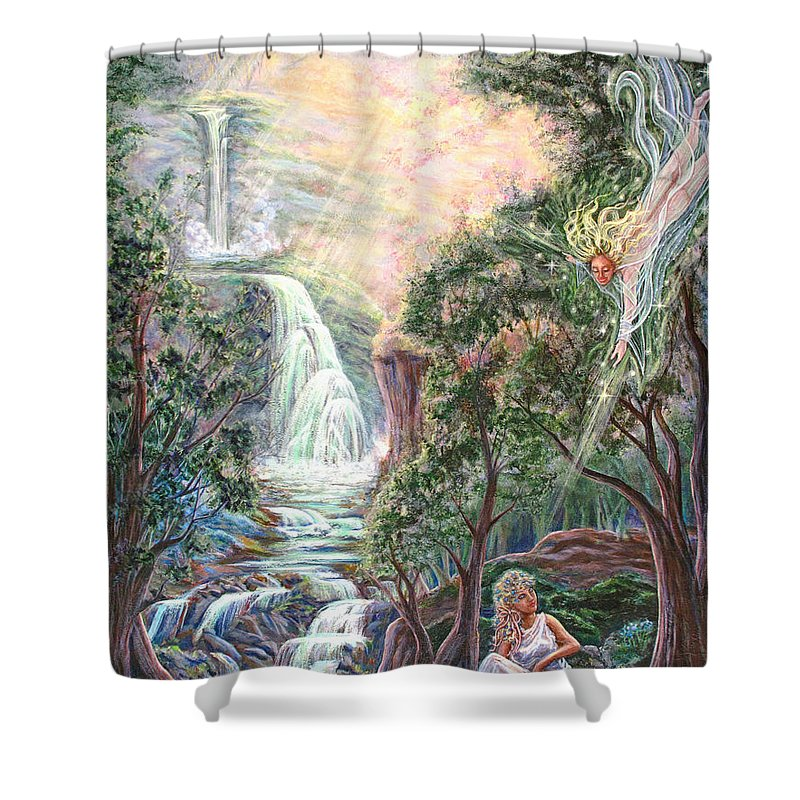 Spiritual Shower Curtain featuring the painting Ready To Fly by Joyce Jackson
