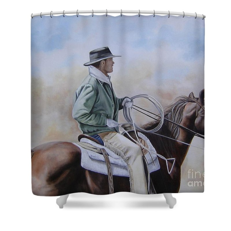 Ranch Shower Curtain featuring the painting Ready To Rope by Mary Rogers