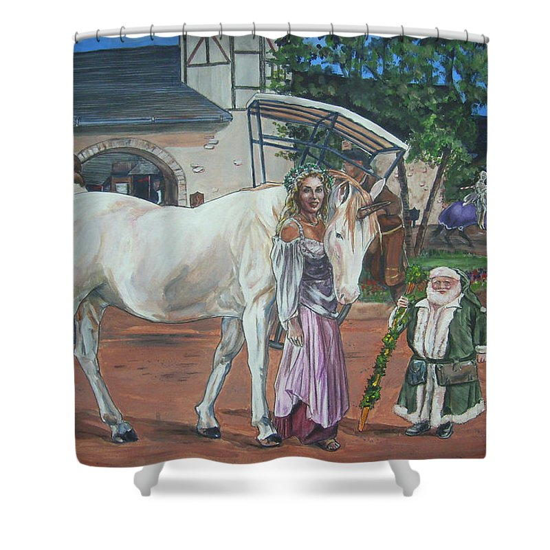 Renaissance Shower Curtain featuring the painting Real Life In Her Dreams by Bryan Bustard