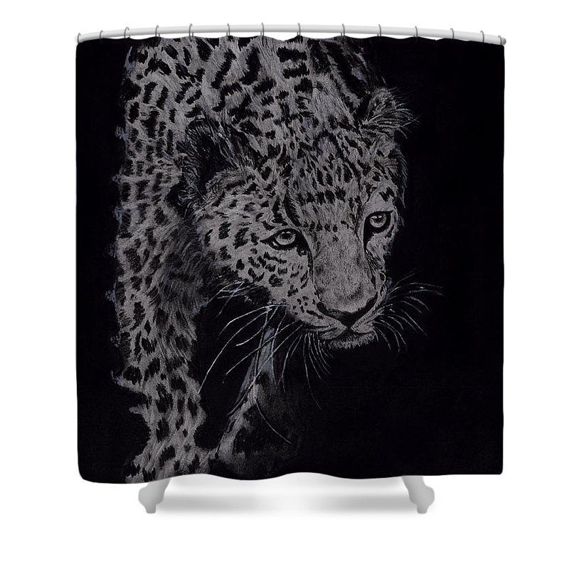 Cheeta Shower Curtain featuring the drawing Realistic Cheeta by Chethan Kumar KM