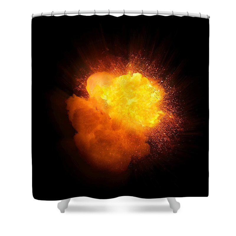 Fuel Shower Curtain featuring the photograph Realistic Fire Explosion, Orange Color With Smoke And Sparks by Lukasz Szczepanski