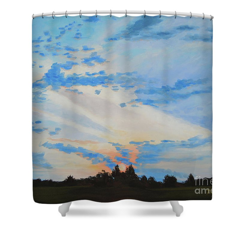 Landscape Shower Curtain featuring the painting Reality by Tonya Henderson